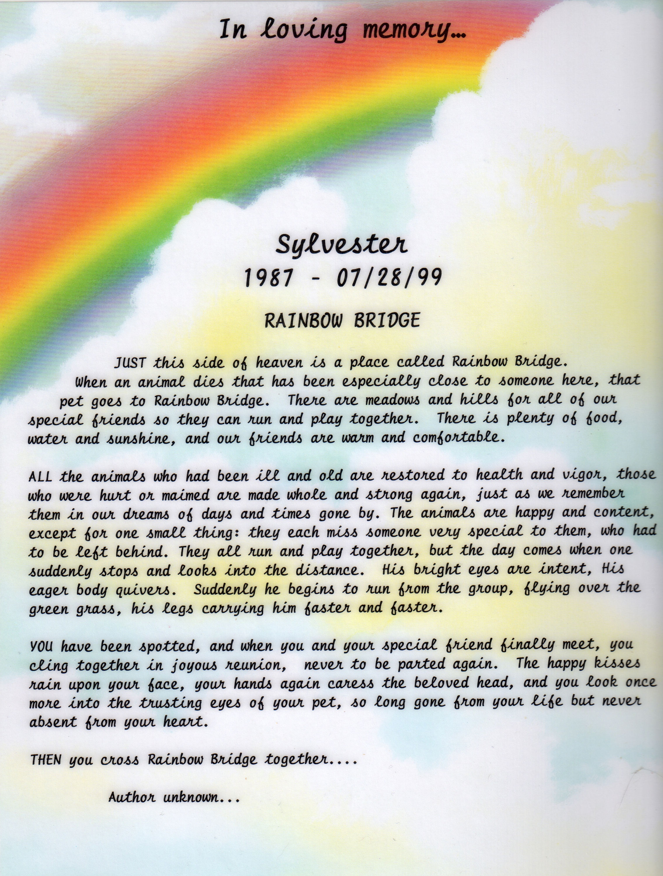 photograph relating to Rainbow Bridge Poem for Dogs Printable known as Rainbow Bridge Prints